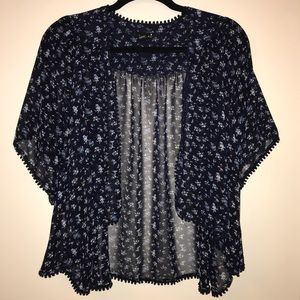 Flowy Forever 21 Floral Cardigan - Navy